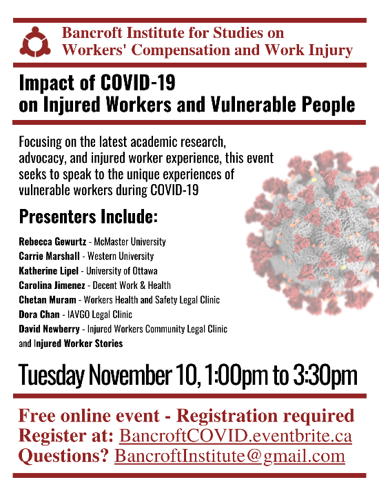 Bancroft Institute for Studies on Workers' Compensation and Work Injury online event. Impact of COVID-19 on Injured Workers and Vulnerable People flyer
