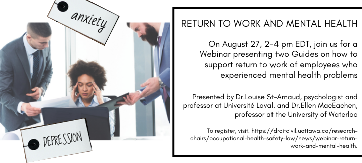 Webinar poster on Guides on Return to Work and Mental Health, August 27, 2020 from 2 to 4 pm EDT